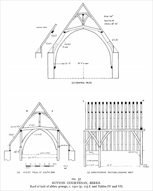 Illustration of roof of hall of Abbey Grange, c.1310